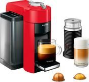 Nespresso - Vertuo Coffee Maker and Espresso Machine with Aeroccino Milk Frother by DeLonghi - Shiny Red #cappuccinomachine