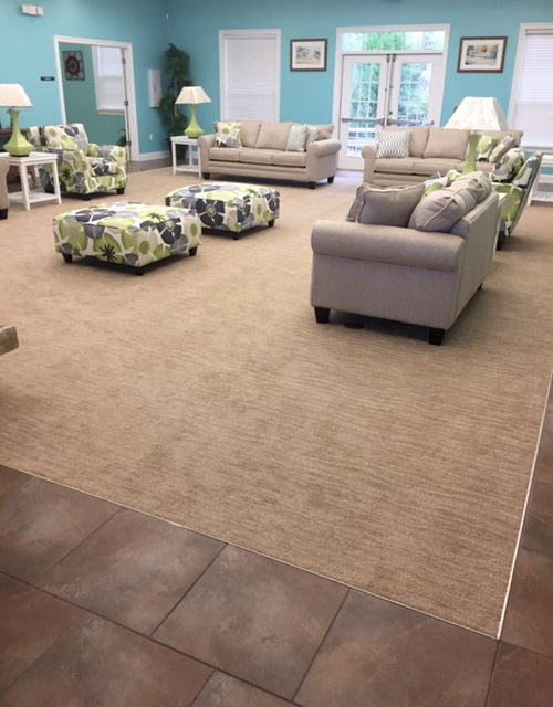 carpet inserted in tile for this great