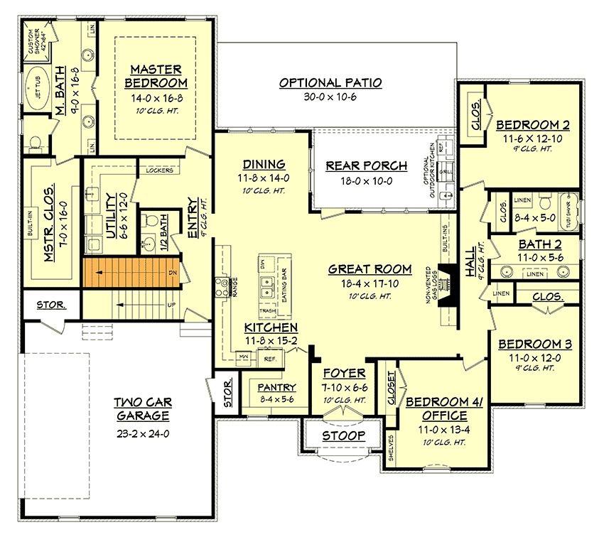 Plan 51740HZ: Acadian House Plan with Bonus Space   Acadian house ...