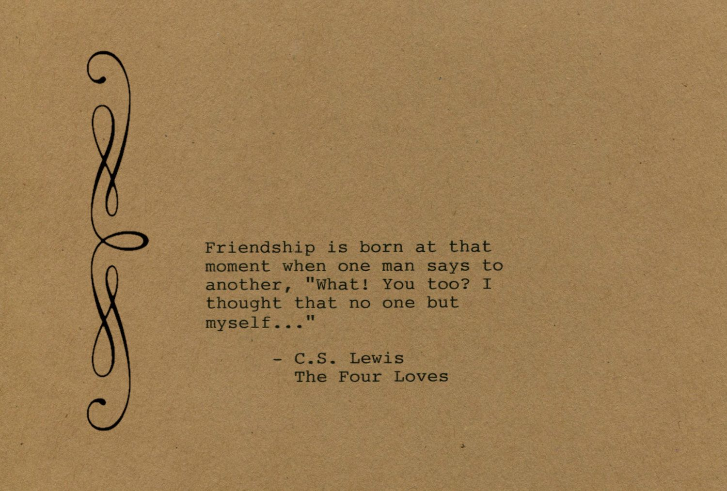One Line Art Quotes : C s lewis quote made on typewriter art wall the four