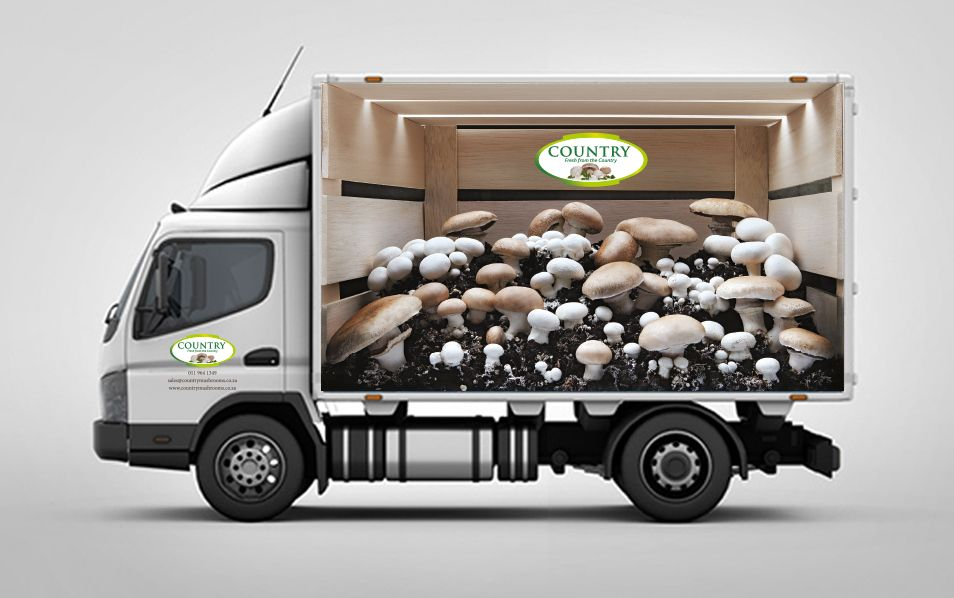 Country Mushrooms Truck signage designed by Titanium Room