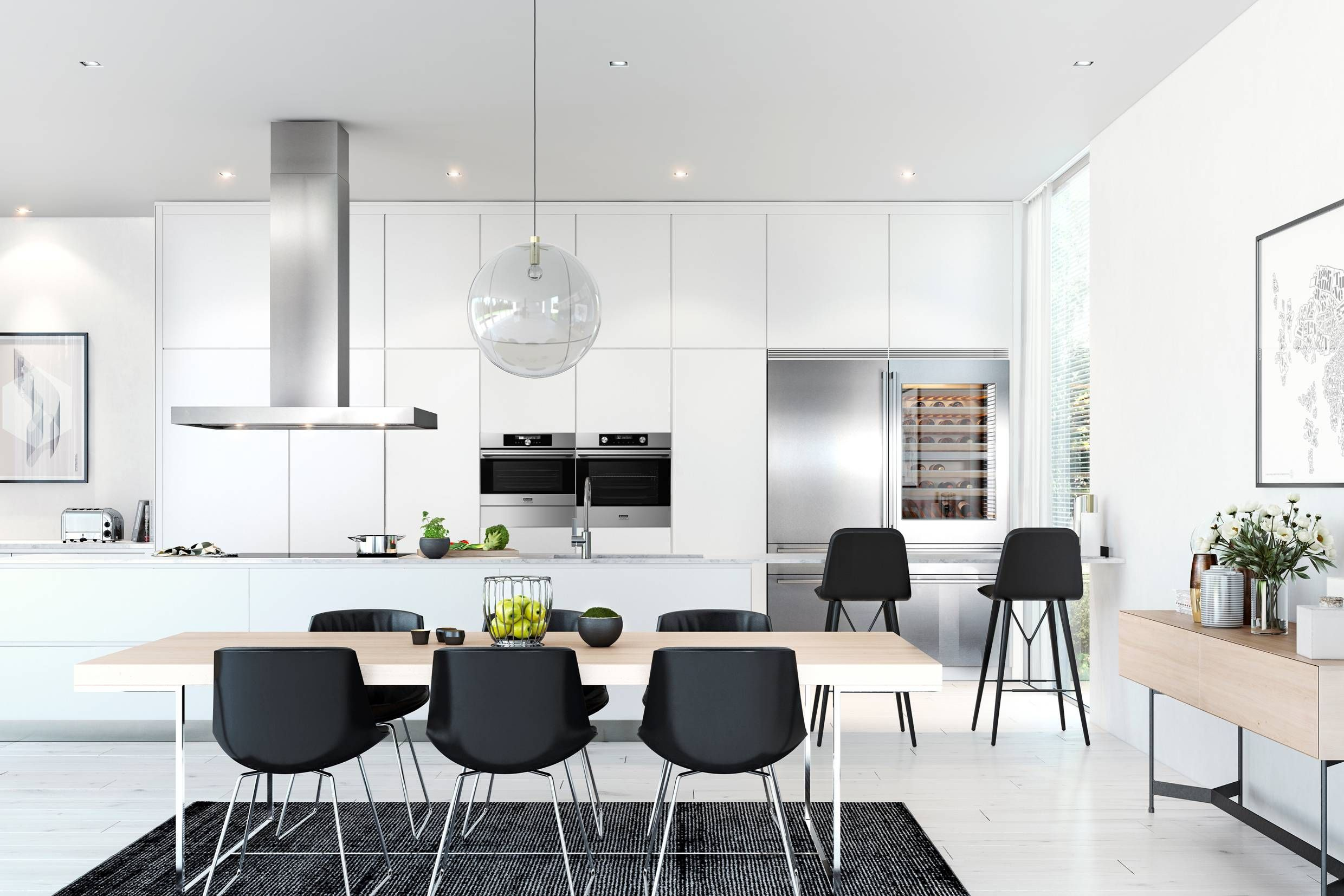 Modern black and white kitchen with stainless steel ASKO Pro Series ...