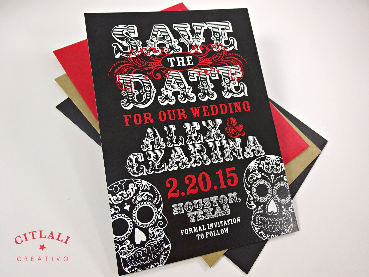 Day Of The Dead Wedding Save The Date   Dia De Los Muertos Skull  Announcement Invitation