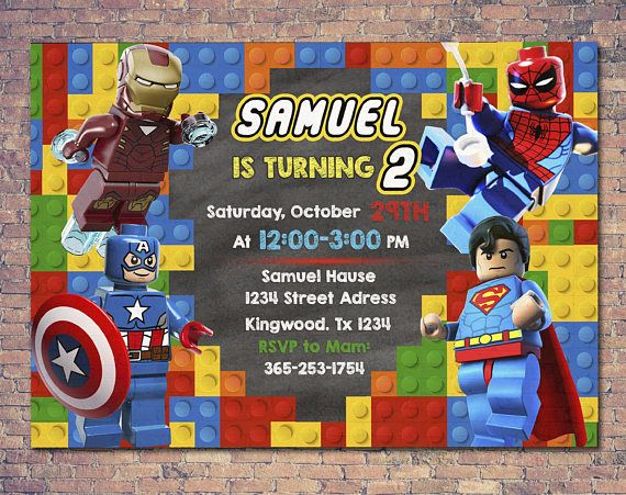 Lego Marvel Superheroes Invitation Lego Party Lego Aniversário