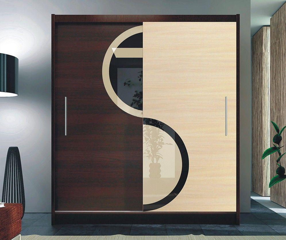 Kleiner Schwebeturenschrank Kleiderschrank 120 Cm Kleiderschrank Hochglanz Schwarz Weiss Schrank Design Modernes Schlafzimmer Design Kleiderschrank Design