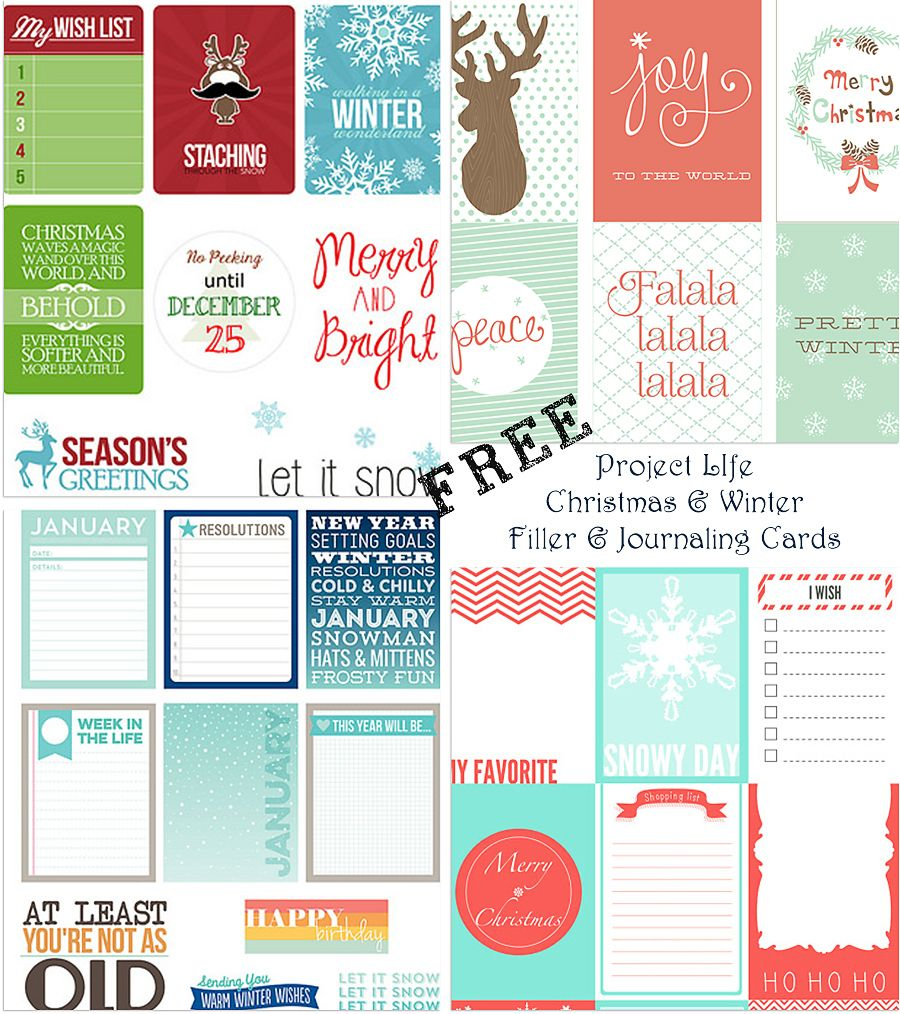 Scrapbook journaling ideas free - Free Christmas Winter Themed Journaling And Filler Cards For Project Life And Other Scrapbooking Systems