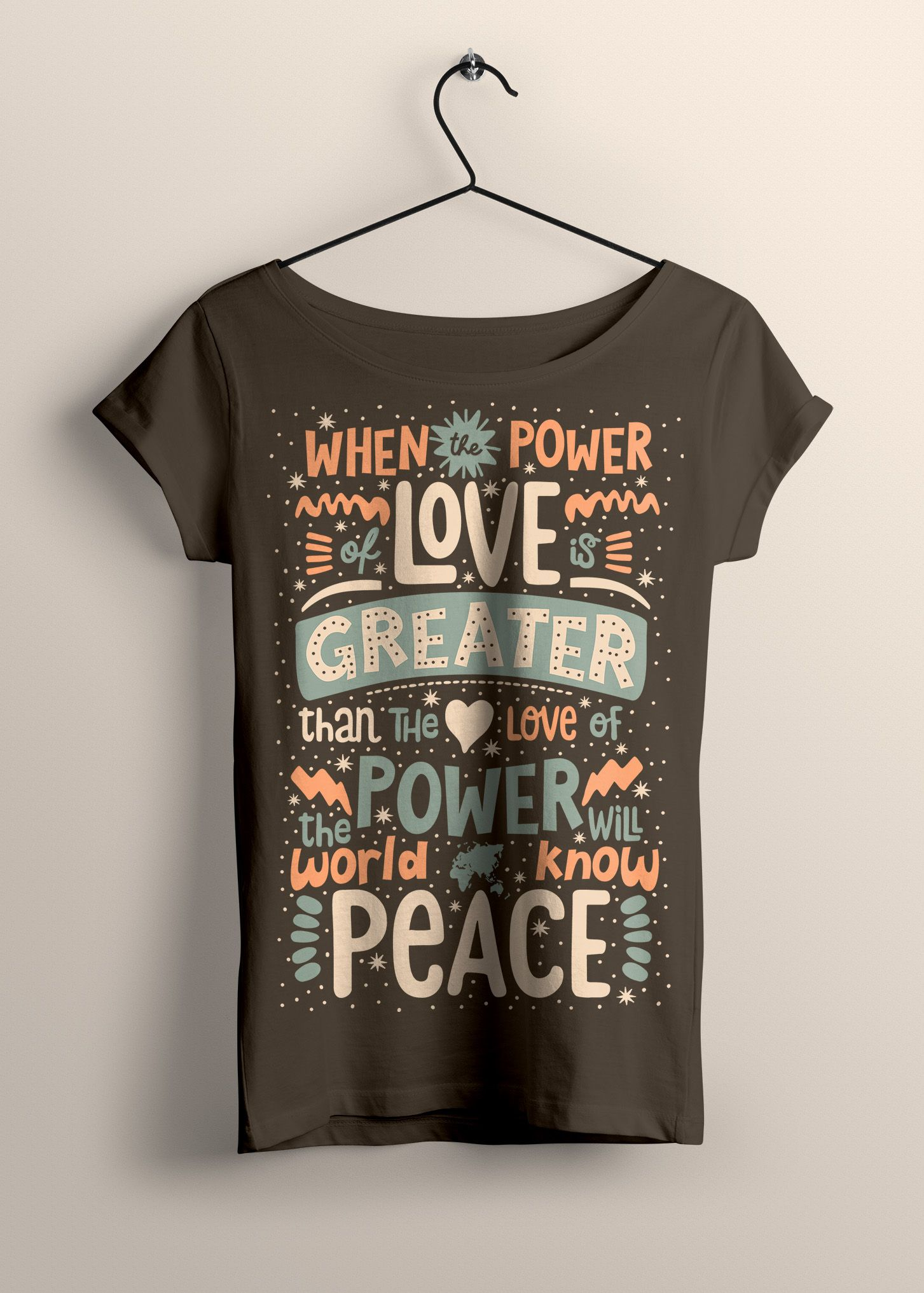 Peace Love Power Typography Quote T Shirt In 2019 Word Art Quote