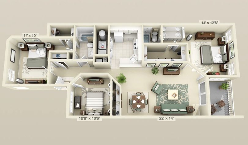 50 Three U201c3u201d Bedroom Apartment/House Plans Part 39
