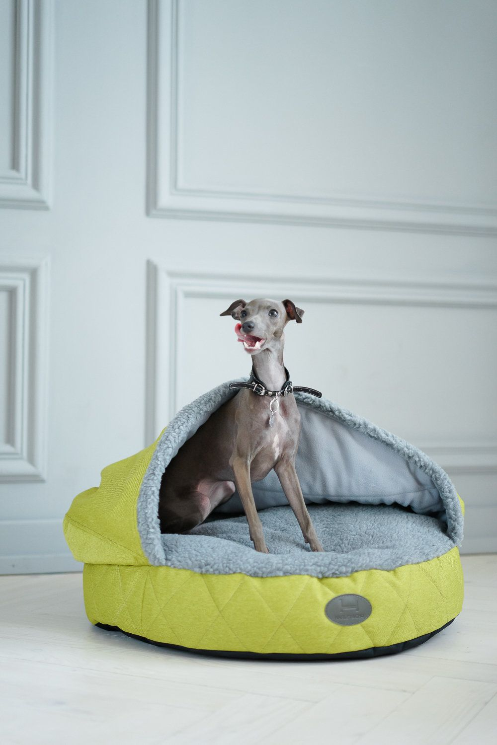 Dog Cave Bed Green Floor Pillow For Short Haired Dogs Beds With Cover And Grey Faux Fur Italian Greyhound Sleeping Sh Dog Pet Beds Dog Bed Hooded Dog Bed