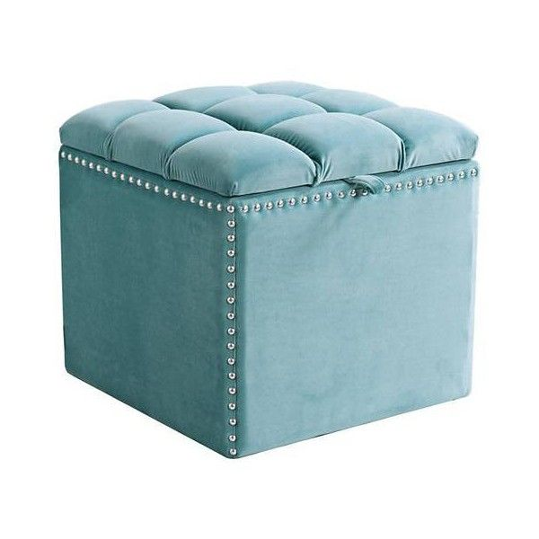 Jennifer Taylor Natalia Arctic Blue Velvet Storage Ottoman 230 Liked On Polyvore Featuring Square Ottomanblue Squaretufted