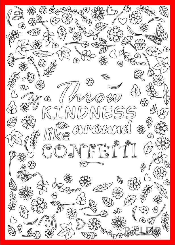 Throw Kindness Around Like Confetti Coloring Page For Grown Ups