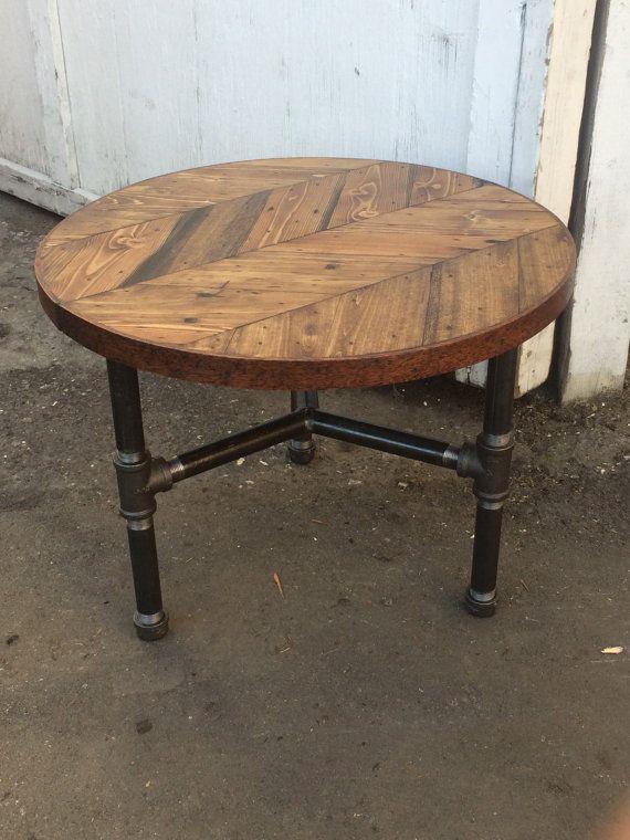 Round Herringbone Coffee Table W Pipe Tri Leg By