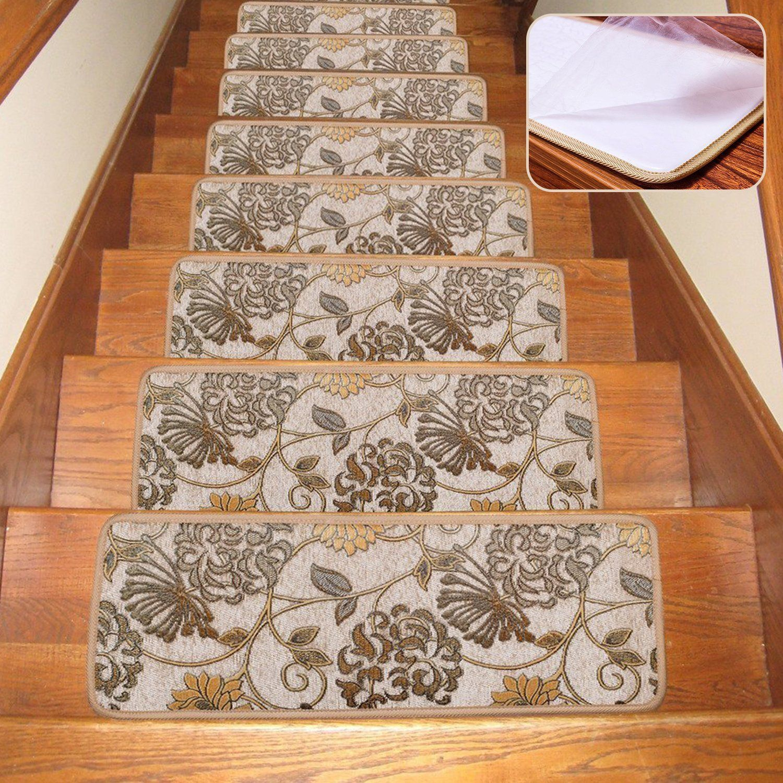 Soloom Non Slip Stair Treads Carpet Set Of 13 Blended Jacquard   Soloom Carpet Stair Treads   Blended Jacquard   Amazon   Beige   Mat   Flooring