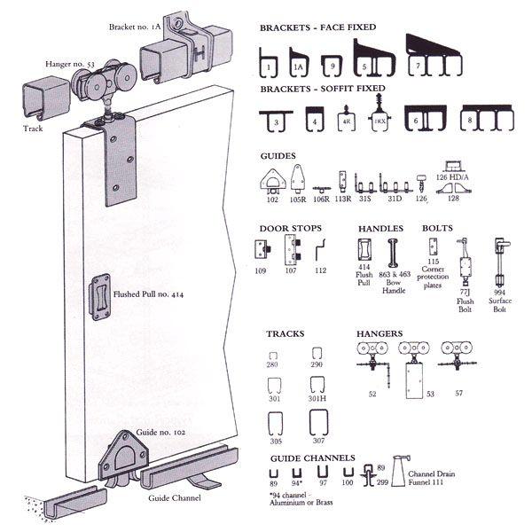 Sliding door tracks and gear aluminium glass pinterest for Sliding glass doors drawing