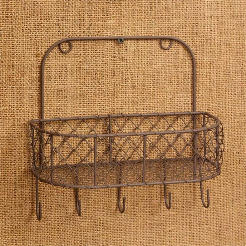 Chicken Wire Wall Basket With Hooks Wire Wall Basket Baskets On Wall Antique Farmhouse