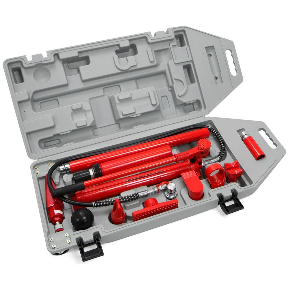Stark 10 Ton Porta Power Hydraulic Body Frame Repair Tool Kit 56010 The Home Depot Tool Kit Auto Body Auto Body Repair