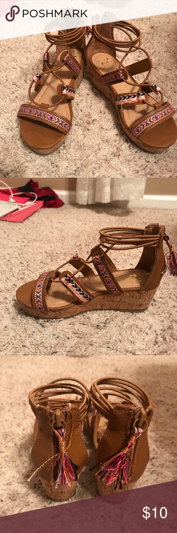 b58b60cf0 Too cute Girls Justice sandals - Size 1 Girls Justice Sandals - tan in  color with threaded accents in multi colors. Zipper closure at the heel.