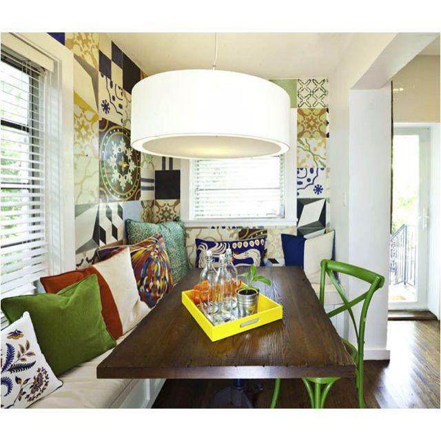 Errez design - breakfast room with vintage Cuban tile wall/ reclaimed wood  table/ and - Errez Design - Breakfast Room With Vintage Cuban Tile Wall