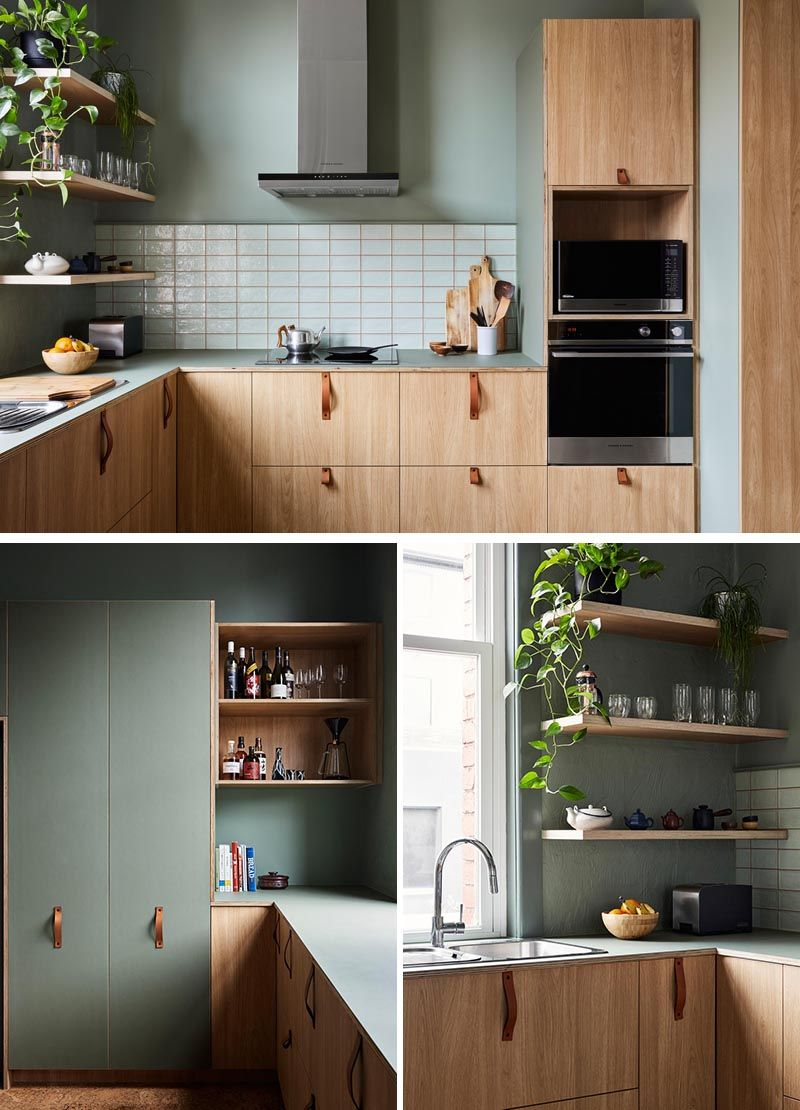 This Apartment Above A Shop Received A Contemporary Update Modern Kitchen Green Green Kitchen Cabinets Sage Green Kitchen Walls
