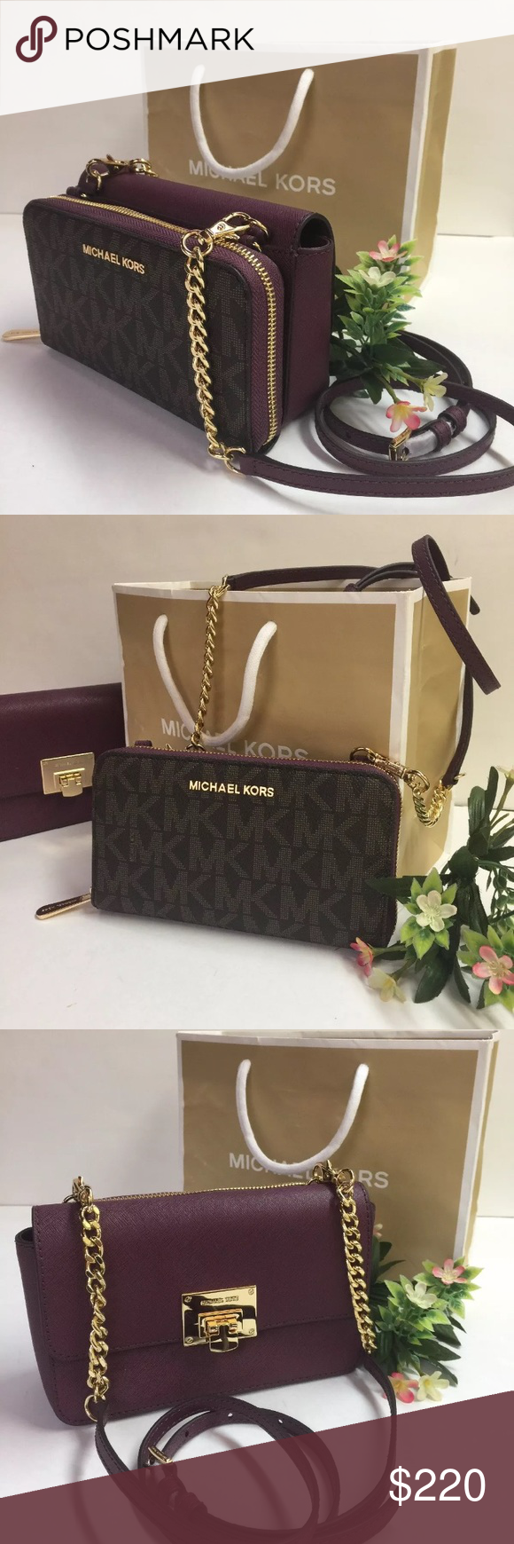 644cc846dd73 NWT Michael Kors Tina Wallet Clutch Crossbody NWT Michael Kors Tina Wallet  Clutch Crossbody Brown