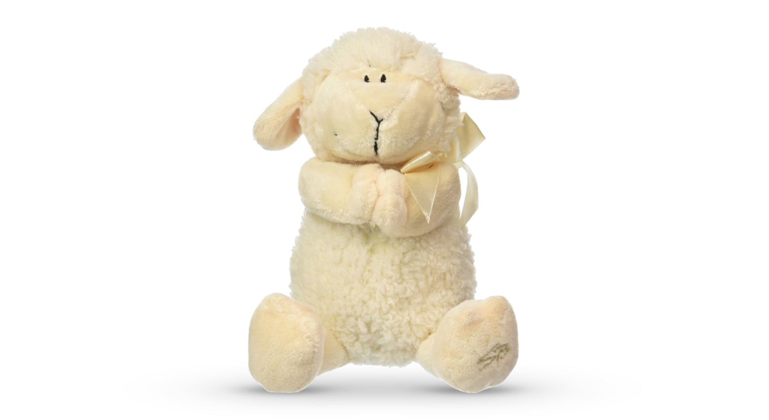 """This soft and cuddly little lamb sings """"Jesus loves me"""". Found in the Baby Catholic Box!"""