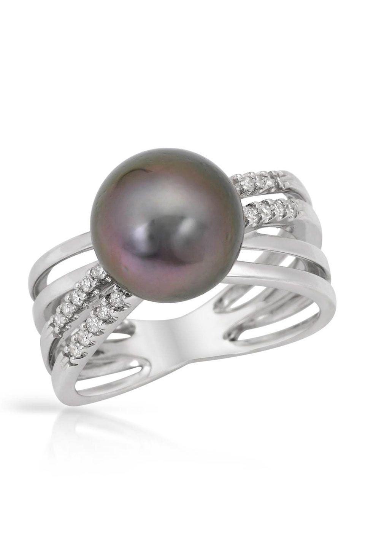 Estate Jewelry 0.20 ct Diamond & Tahitian Pearl 14k White Gold Ring - Beyond the Rack