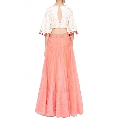 638f78240c1ff Ivory shoulder cut out embroidered crop top with rose pink skirt by MONIKA  NIDHII