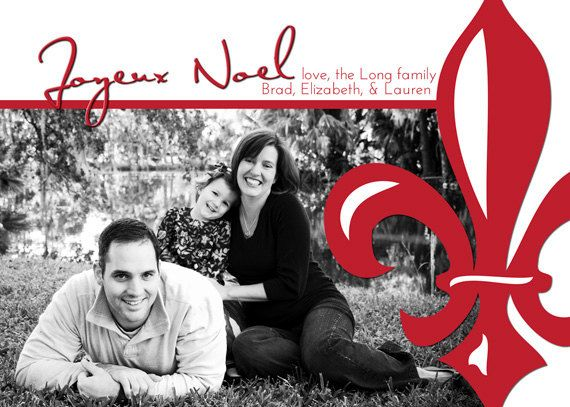 Joyeux Noel Fleur de Lis Christmas card