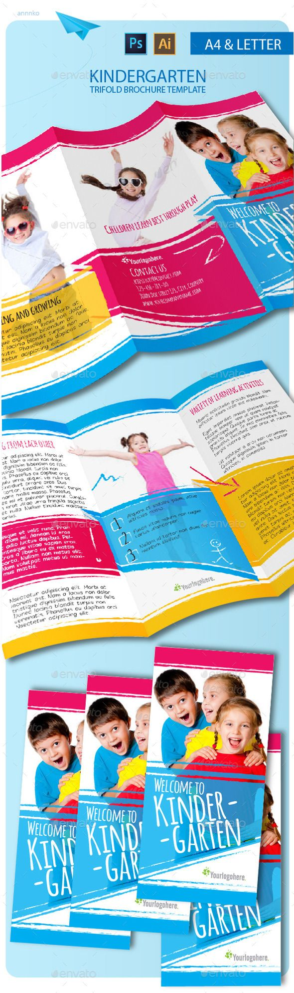 TriFold Kindergarten Brochure  Tri Fold Brochures And Kindergarten