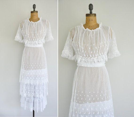 Antique Lace Dress 1900s Sheer