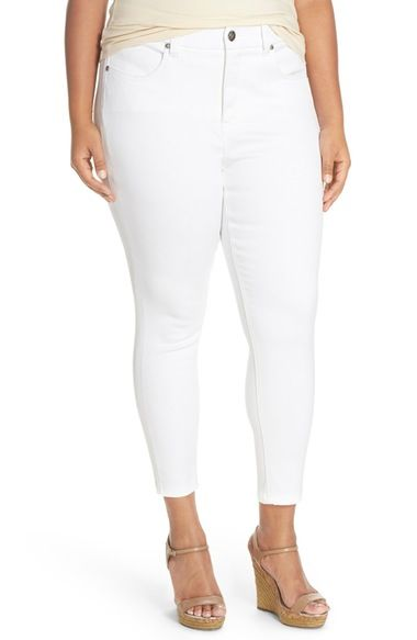 Melissa McCarthy Seven7 Distressed High Rise Stretch Pencil Jeans ...