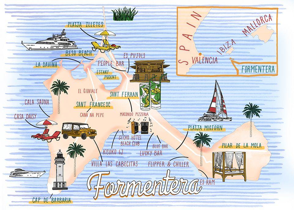 Jitesh Patel Formentera map karttoja ym Pinterest Map