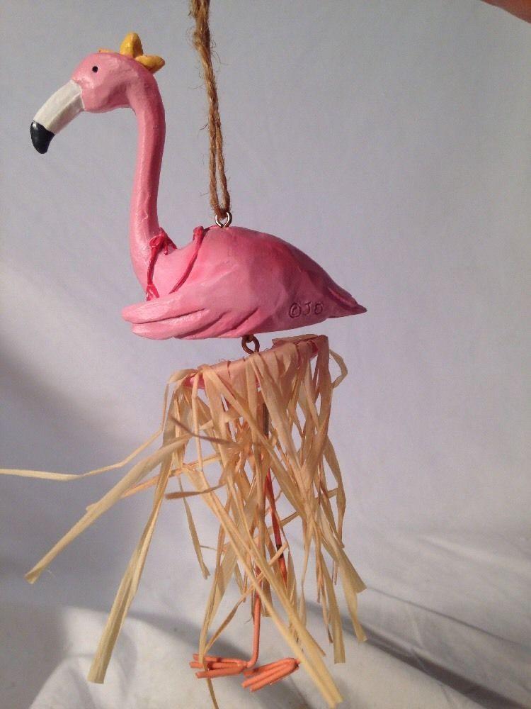 Pink Flamingo Christmas Tree Ornament Resin Tropical Grass