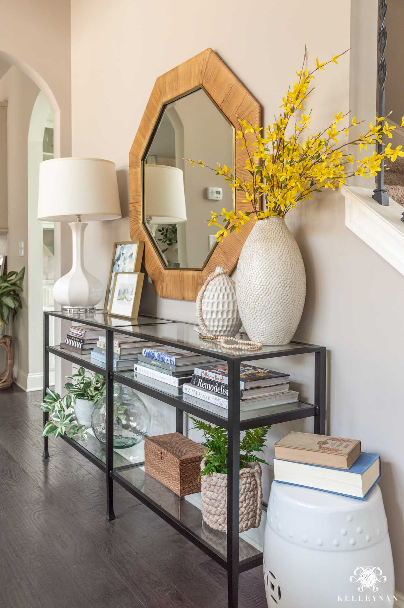 Simple Spring Home Decor Faux Flower Arranging Ideas Kelley Nan Console Table Living Room Console Table Decorating Spring Home Decor Living room console table ideas
