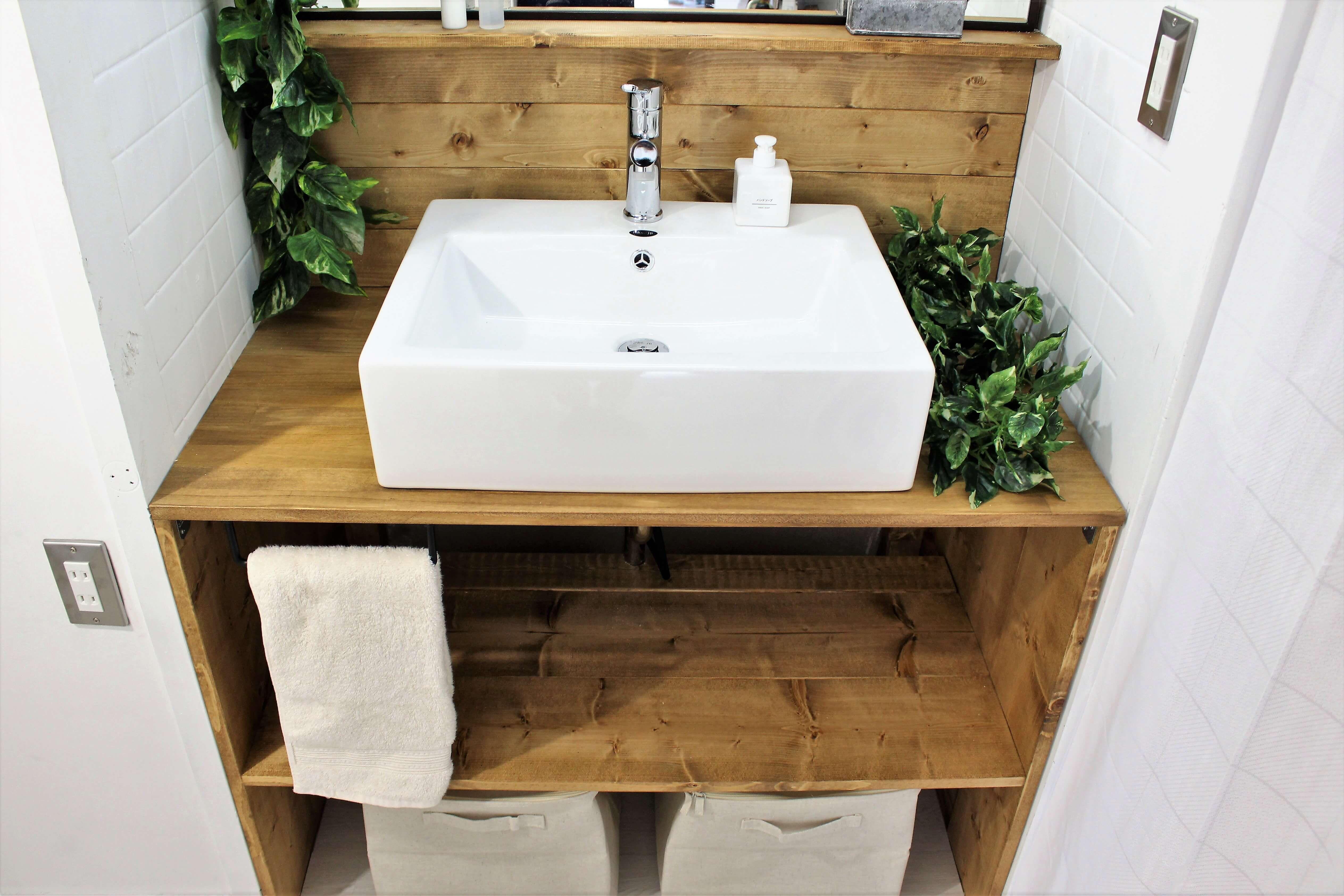 Diyで洗面化粧台を交換 洗面ボウルでおしゃれな洗面台を自作して洗面所をリフォーム 洗面化粧台 洗面台 洗面
