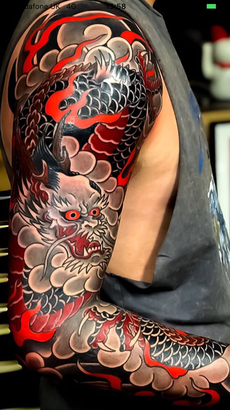 Really Cool Black And Red Dragon Sleeve Love The Contrasting Colors On This One Japanese Tattoo Japanese Dragon Tattoos Japanese Sleeve Tattoos