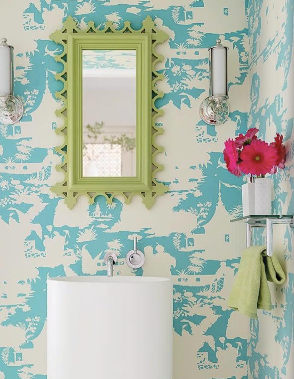 Wow Love This Bathroom Wallpaper Quadrille Paradise Background