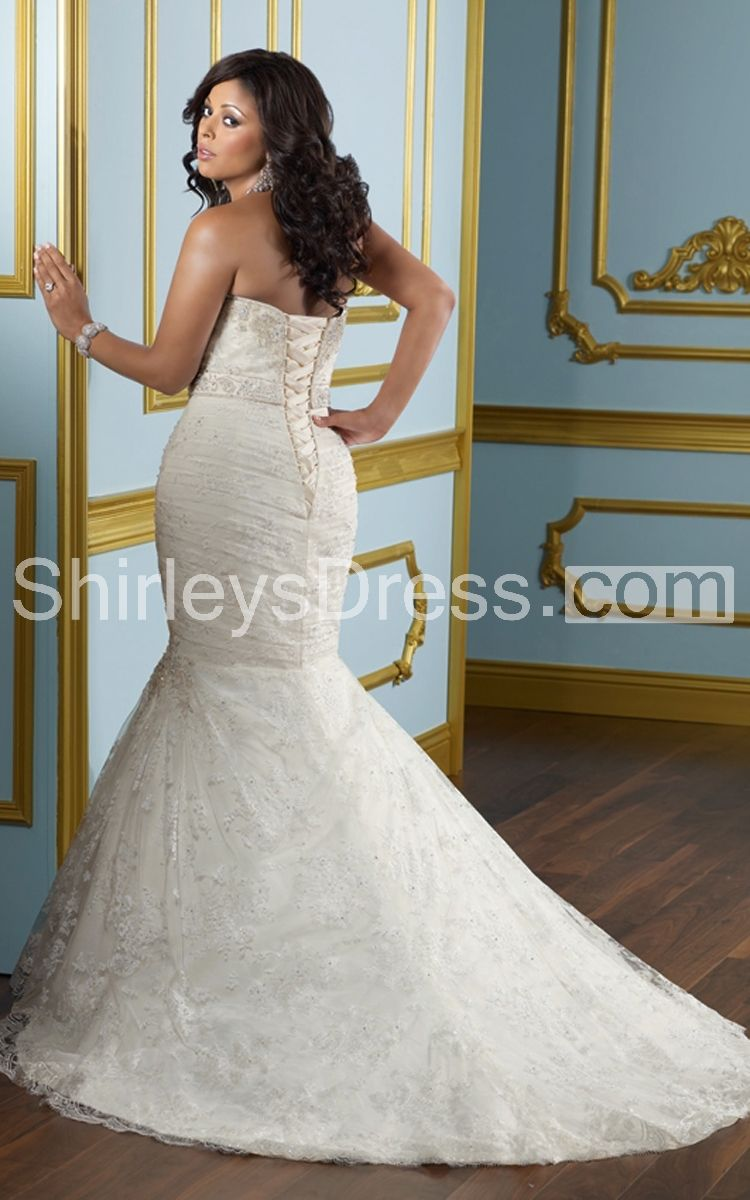 Embroidered beaded and laced mermaid net train wedding gown