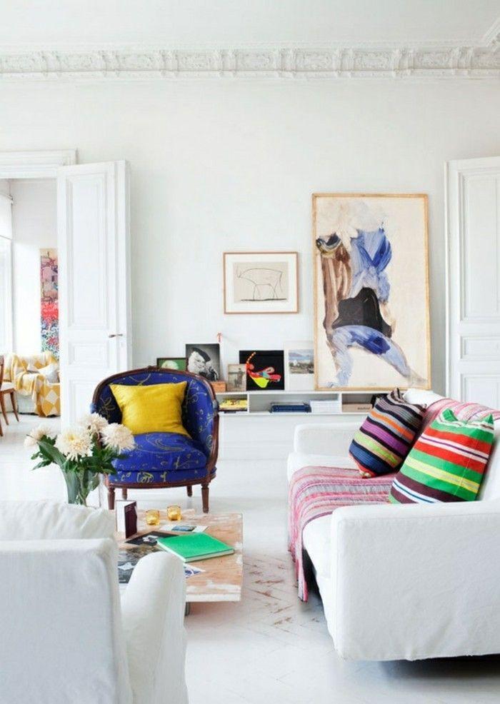 schönes wohnzimmer einrichten ideen farbige akzente weiße möbel - schöne wohnzimmer ideen