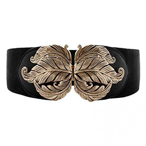 Vintage Elegant Mental Leaf Buckle Stretch Waist Belt Wide