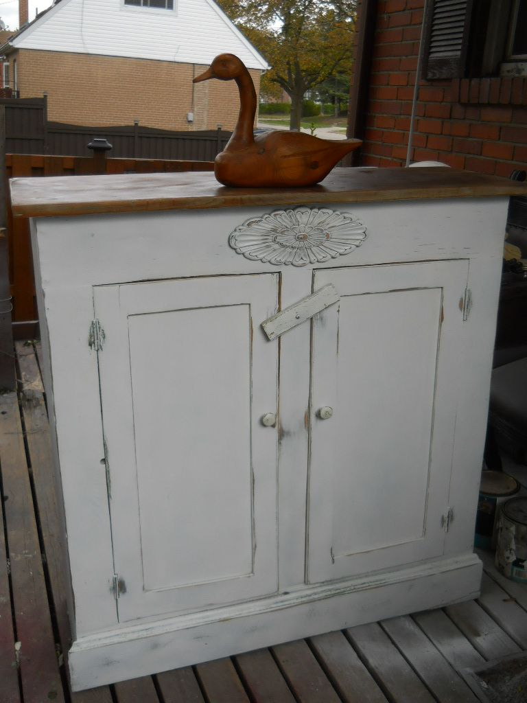 This old farmhouse jelly cabinet was painted a gaudy blue when I ...