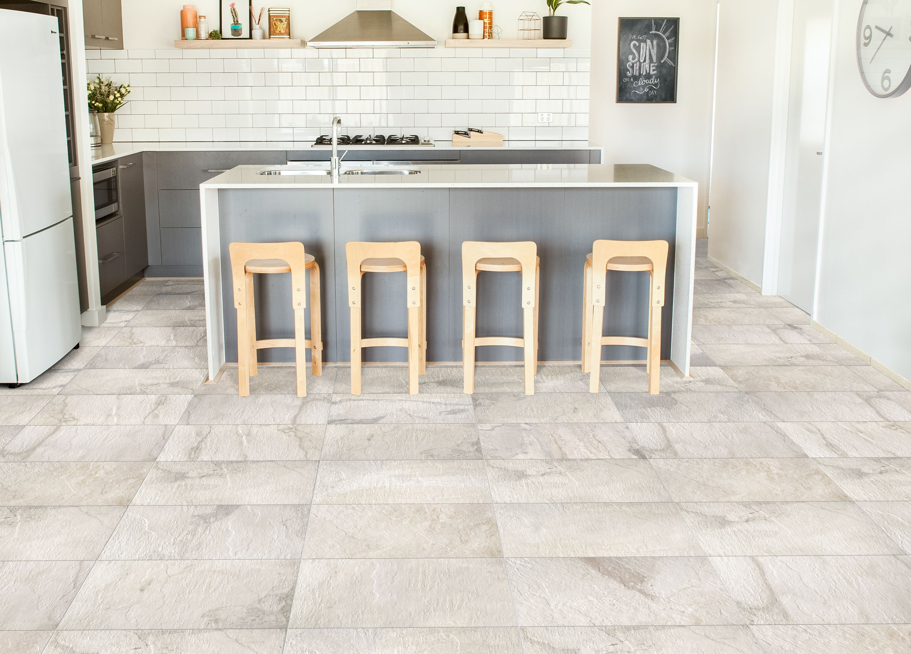 White Ceramic Floor And Ivetta Wall Tiles For Bright Kitchen