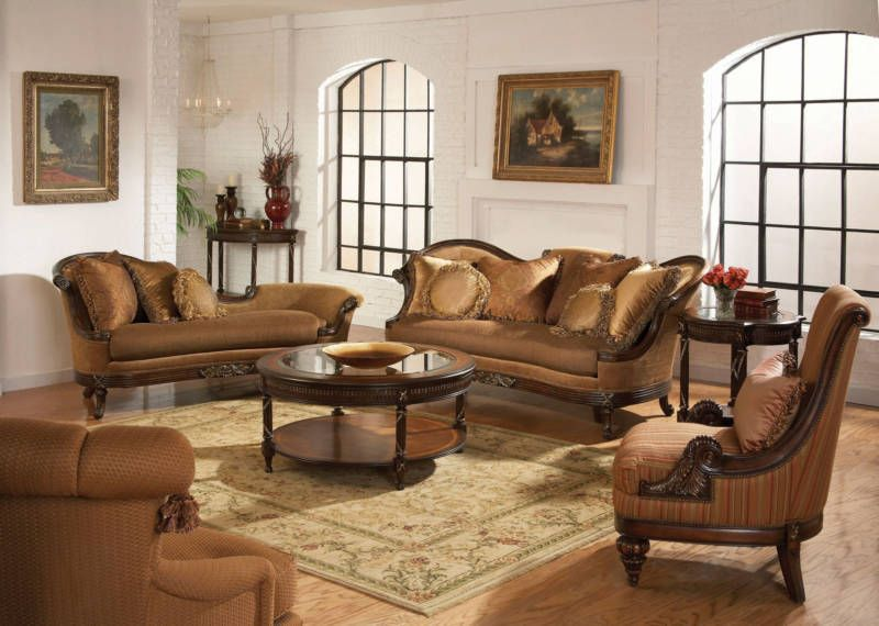 Siena - old world wood trim chenille sofa couch chaise living room set  furniture