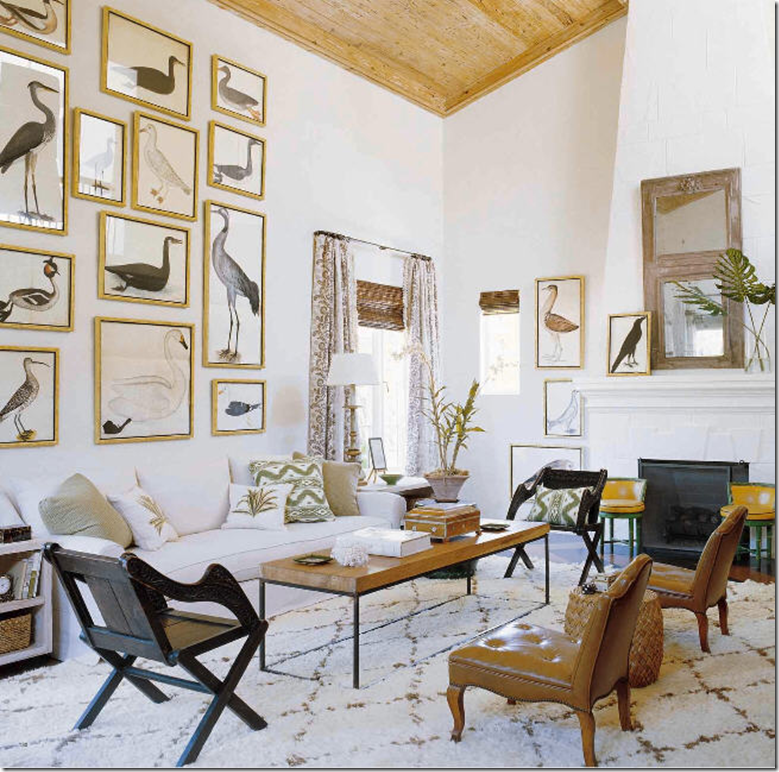 anthropologie living room. collection of bird prints are a trendy choice  even Anthropologie sold copies this famous