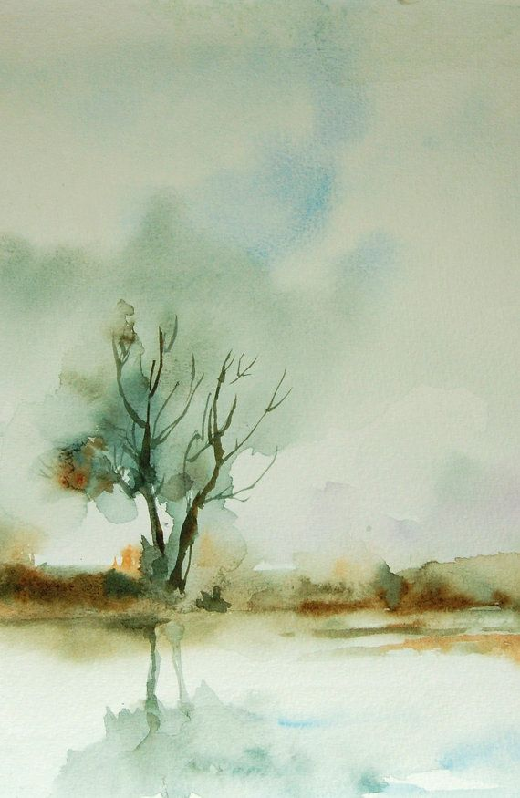 Autumn Landscape Watercolor Painting Art Print Nature