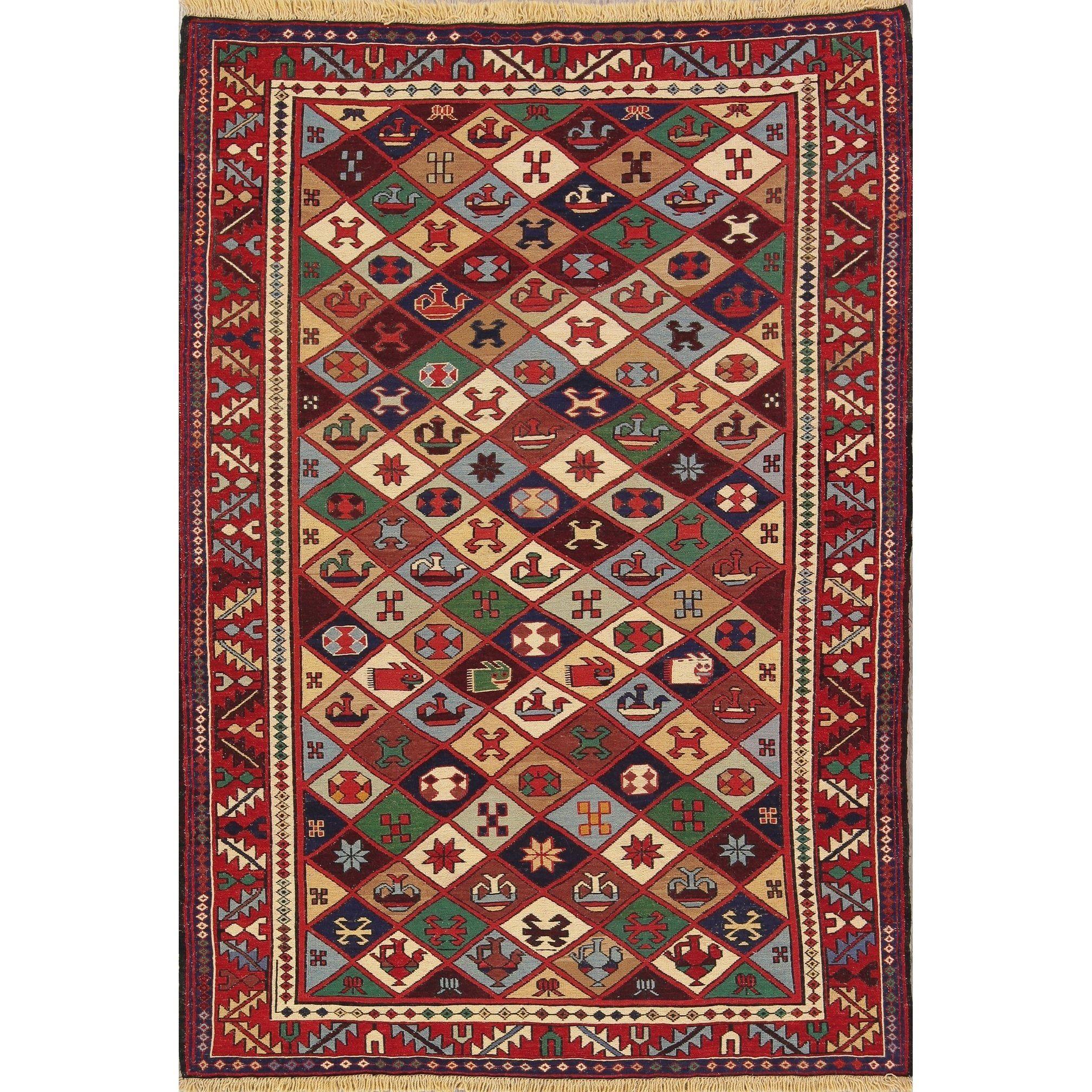 Hand Woven Oriental Wool Kilim Shiraz Persian Carpet Area