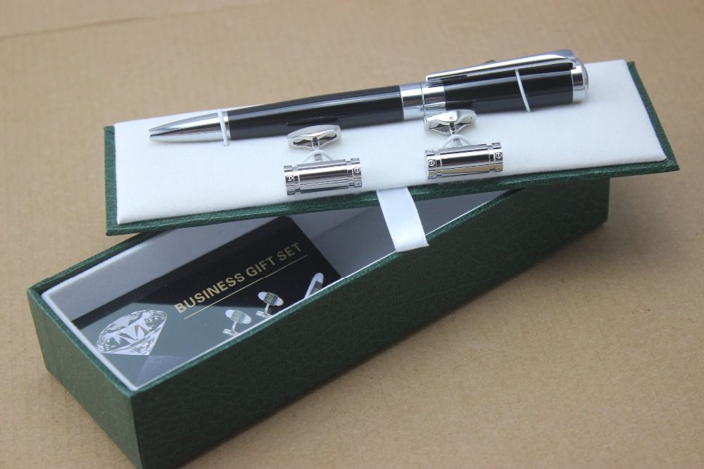 New Luxury Black Silver Clip Chaplin Ballpoint Pen Stationery Executive Office Supplies Writing And Business
