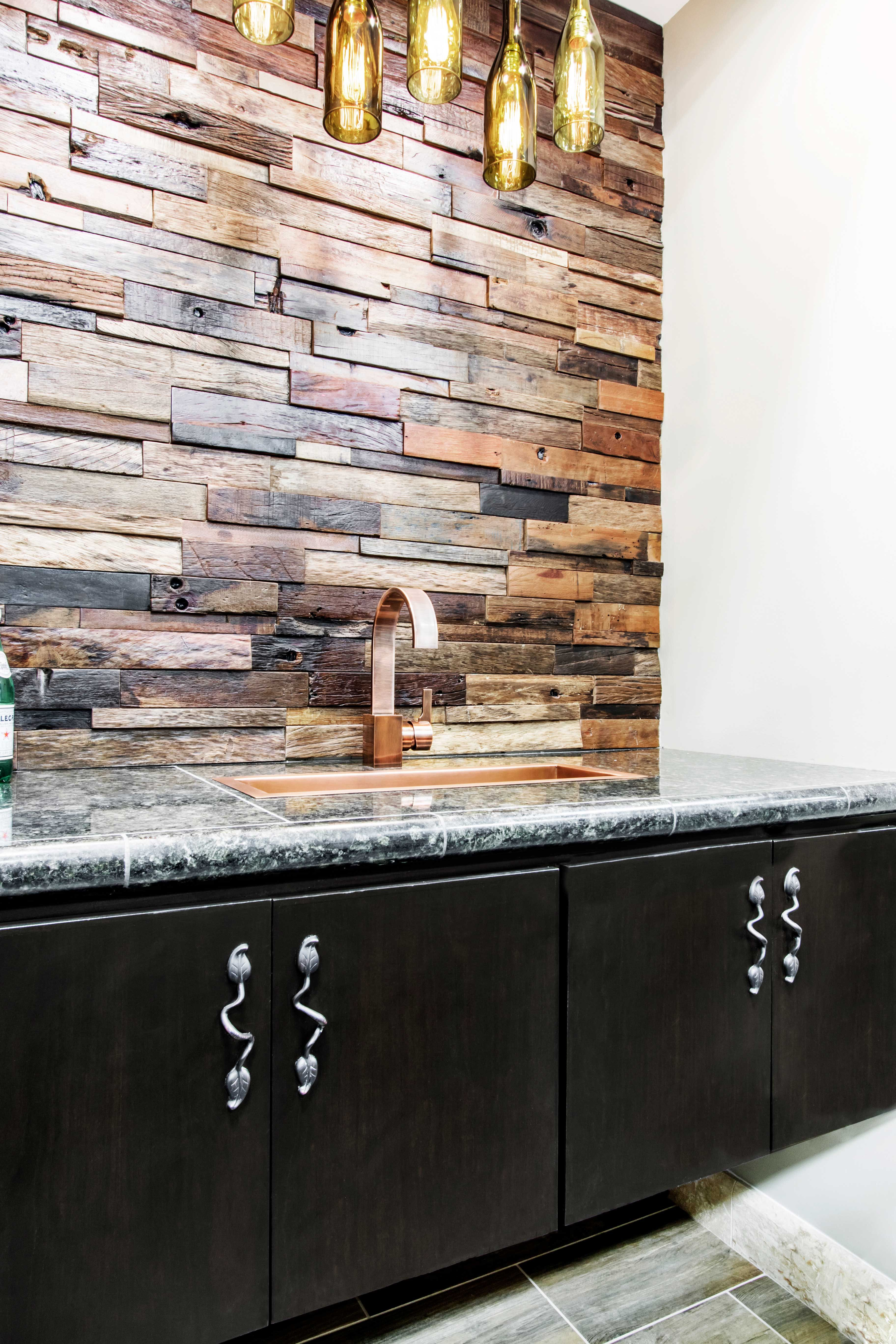 - This Wood Tile Home Bar Backsplash Idea Is Uniquely Crafted From