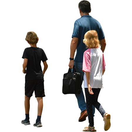 Two Kids Walking With Their Father To Do Family Things On A Sunny Spring Or Summer Day Render People People Png People Cutout