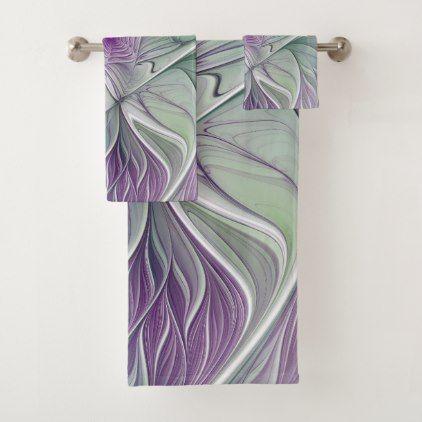 Flower Dream Abstract Purple Green Fractal Art Bath Towel Set